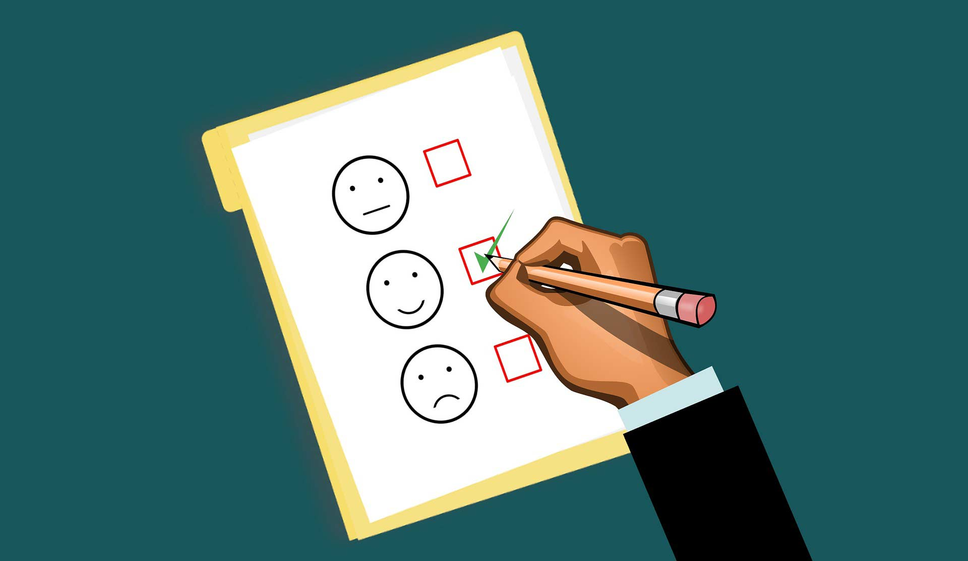 Rating scale with person checking off items